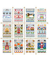 These adorable and charming little samplers fit the seasons and each month of the year and look fabulous as a grouping consisting of all twelve.