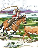 Working Cowboys - PDF: The old west is perfectly depicted in this large scene of cowboys roping cattle on the range.
