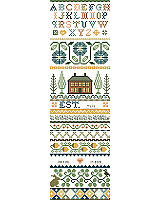 Kooler Design Studios take on the classic Americana band sampler in a style more sophisticated than primitive.  This subtle design by Deanna Hall West has soft tones of gold, green and teal which will fit into today's décor.