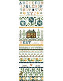 Homestead Sampler - PDF: Kooler Design Studios take on the classic Americana band sampler in a style more sophisticated than primitive.  This subtle design by Deanna Hall West has soft tones of gold, green and teal which will fit into today's décor.