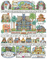 "We always say ""Love makes a house a home"" and this charming Bless Our Home Sampler by designer Barbara Baatz Hillman is filled 'chock a block' with adorable little houses of every size and style."