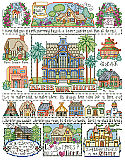 "Bless Our Home Sampler - PDF: We always say ""Love makes a house a home"" and this charming Bless Our Home Sampler by designer Barbara Baatz Hillman is filled 'chock a block' with adorable little houses of every size and style."