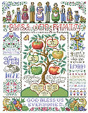 Bless Our Family Sampler - PDF: Our most ornate and detailed family tree theme samplers by designer Sandy Orton will be an heirloom for generations to come.