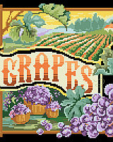 Fruit Crate style design of bountiful grapes is lusciously depicted by designer Barbara Baatz Hillman. When stitched on black fabric, this design is striking. This is a great companion piece to Crate Label Pears.