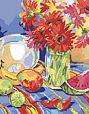 South American Still Life - PDF: PDF ChartSouth of the border flavor bursts forth with brilliant hot and cool colors.