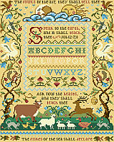 This detailed and delightful Sandy Orton sampler featuring fish, fowl and many of God's creatures depicting the classic quote from Job 12.