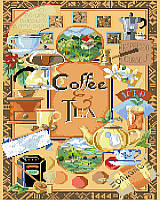 A display of many exciting and colorful pictures of coffee and teas.