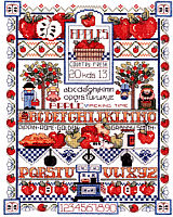 Apple Sampler is a counted cross stitch design by Linda Gillum. This sampler is colorful and the design is fabulous.