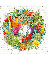 Bursting with Bountiful Harvest Color and Flavor! Delicious vegetables accentuated with a rope bow over a background of bees and the names of fruits and vegetables.