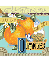 Fresh and tangy, Sweet Oranges is one of four traditional crate-label style fruit motifs to add a bright splash of color to any room décor.