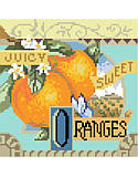 Juicy Sweet Oranges - PDF: Fresh and tangy, Sweet Oranges is one of four traditional crate-label style fruit motifs to add a bright splash of color to any room décor.