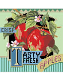 Tasty Fresh Apples - PDF: Juicy and sweet, Tasty Fresh Apples is one of four traditional crate-label style fruit motifs to add a bright splash of color to any room décor.