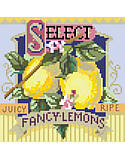 Select Fancy Lemons - PDF: Bright and tart, Fancy Lemons is one of four traditional crate-label style fruit motifs to add a bright splash of color to any room décor.