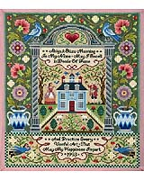 A schoolgirl sampler that exemplifies the distinctive style indicative of the Mary Balch School, from the architectural arrangement to the moral sentiments expressed right down to the authentic stitches used.