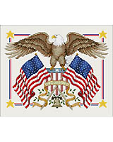This eagle flies the flag in this ultimate patriotic design by Linda Gillum.