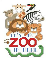 Celebrate the craziness of life with these charming zoo animals. They are funny but not ferocious. This small design could be stitched on a baby bib or made into a special card. Let your imagination run wild!