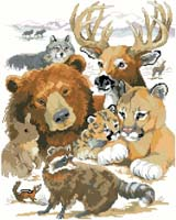 "The wild animals of North America are majestic and awesome. They are all here in one place ready for you to stitch this lovely design for display in your mountain home or his ""man-cave""."