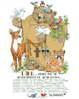 Friendly woodland animals surround a gentle St Francis Bear.
