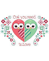 What could be cuter than two owls in love making a heart! Stitch these two owls for a wedding, anniversary, or even Valentine's day.
