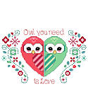 Owl You Need is Love - PDF: What could be cuter than two owls in love making a heart! Stitch these two owls for a wedding, anniversary, or even Valentine's day.