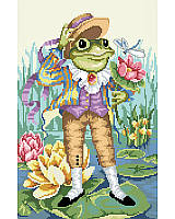 This playful Counted Cross Stitch design features the story of Mr. Frog Goes A-Courting.
