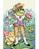 Mr. Frog Goes A Courting - PDF: This playful Counted Cross Stitch design features the story of Mr. Frog Goes A-Courting.