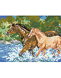 Horses - PDF: Add farmhouse charm to a blank wall with this beautiful cross stitch design. A stunning picture of these fine animals running through the water makes a great gift for the nature enthusiast in your life.