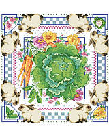 Showcasing a lovely bunnies and cabbage motif, this artful cross stitch design brings country-chic appeal to your kitchen.