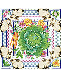 Vegetable Patch - PDF: Showcasing a lovely bunnies and cabbage motif, this artful cross stitch design brings country-chic appeal to your kitchen.