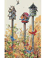 Solos are sweet but trios are terrific when it comes to birdhouses. So many birds are attracted to our architectural trio of bird houses in this dynamic design. This rustic yet vibrant piece is the perfect reminder of the beauty in nature that can be found all around. An accent piece that any bird lover will adore.