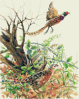 This realistic design features colorful pheasants in action in a rustic scene of the forest.  Incorporating beautiful autumn colors, a dynamic composition, this is sure to make anyone appreciate the splendor of the fall season. Give as a thoughtful gift for any autumn occasion or use as part of your Thanksgiving Day décor.