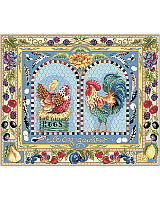 We love the incredible detail of this authentic French style rooster, hen and chick family, that's proudly at home in any kitchen. This charmingly French country piece featuring French blues and bright colors to represent the bounty of the land. Juicy berries, feathers, Sunflower, eggs and lavender create a bold and unique border design. One of largest pieces ever released, this will sure to be an heirloom.