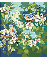 Nothing says springtime like chirping birds! This vibrant pair of feathered friends rest happy on their cherry blossom tree.
