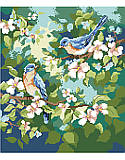 Spring Bluebirds - PDF: Nothing says springtime like chirping birds! This vibrant pair of feathered friends rest happy on their cherry blossom tree.