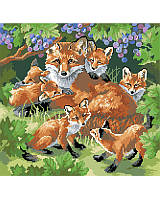 "Add woodland charm to your home with this lovely ""mother and baby foxes"" piece with full coverage."