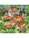 "Den Mother - PDF: Add woodland charm to your home with this lovely ""mother and baby foxes"" piece with full coverage."