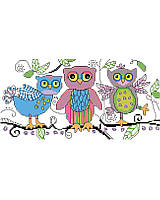 Add a sweet touch of woodland whimsy to your décor. The loose and 'sketchy' style makes this one unique. This oh-so-cute, colorful and playful trio of owls will delight any bedroom, playroom or nursery.