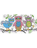 Sketchy Owls - PDF: Add a sweet touch of woodland whimsy to your décor. The loose and 'sketchy' style makes this one unique. This oh-so-cute, colorful and playful trio of owls will delight any bedroom, playroom or nursery.