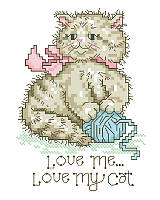 Lend a touch of feline-inspired charm to your interior décor with this super cute cross stitch. A vintage look captures the sentiment of 'Love me, love my cat' to a tee. The adorable cat playing with a ball of yarn is the cat's meow. Makes a great gift for any cat lover!