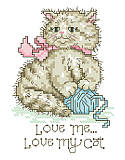Love Me Love My Cat - PDF: Lend a touch of feline-inspired charm to your interior décor with this super cute cross stitch. A vintage look captures the sentiment of 'Love me, love my cat' to a tee. The adorable cat playing with a ball of yarn is the cat's meow. Makes a great gift for any cat lover!