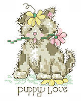 Share your 'puppy love' for cute canine companions with this adorable puppy cross stitch. This sweet pup has been playing in the garden and it's covered in flowers. This quick stitch would be great for commemorating the arrival of a new pup!