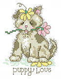 Puppy Love - PDF: Share your 'puppy love' for cute canine companions with this adorable puppy cross stitch. This sweet pup has been playing in the garden and it's covered in flowers. This quick stitch would be great for commemorating the arrival of a new pup!