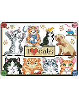Pint-sized cat lovers get something to purr about with this fantastic cross stitch design with eight adorable cats! With its warm colors and playful kitties, this cheerful piece makes a purrfect gift for your favorite cat lover, or a charming statement for you and your cats home.