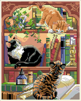 In purr-fect harmony, our trio of cunning and curious kitties find a most 'novel' place to play. An escapade filled with fun and delight design by Nancy Rossi.