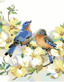 Bluebirds and Dogwood - PDF: A charming bluebird couple resting upon a dogwood branch