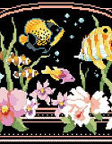 Tropical Fantasy PDF: Dramatically stitched on black fabric, this tropical underwater scene will put you in paradise. With bright tropical angel fish and gorgeous orchids in the foreground, this elegant design is mesmerizing to look at and delightful to stitch.