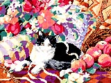 Portraying gentle charms, endearing qualities and irresistible sweetness, this royal pampered pussy reposes comfortably atop a soft, cushy sofa surrounded by fruits of the harvest. At day's end, the cares of the world melt away as this loveable kitty welcomes you home.