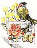 "Botanical Birds - Kit: ""Botanical Birds"" A charming counted cross stitch design. Fascinating birds and pink flowers bring out the beauty in this picture."