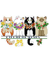Four adorable kittens wearing seasonally appropriate necklaces of colorful flowers
