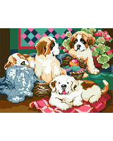 Lotsa Puppies anxious to join your menagerie! Totally irresistible; hold onto your heart as you stitch these colorful St. Bernard characters!